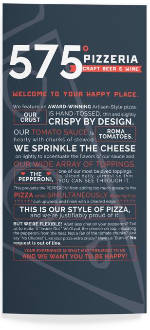 575 Pizzeria takeout menu