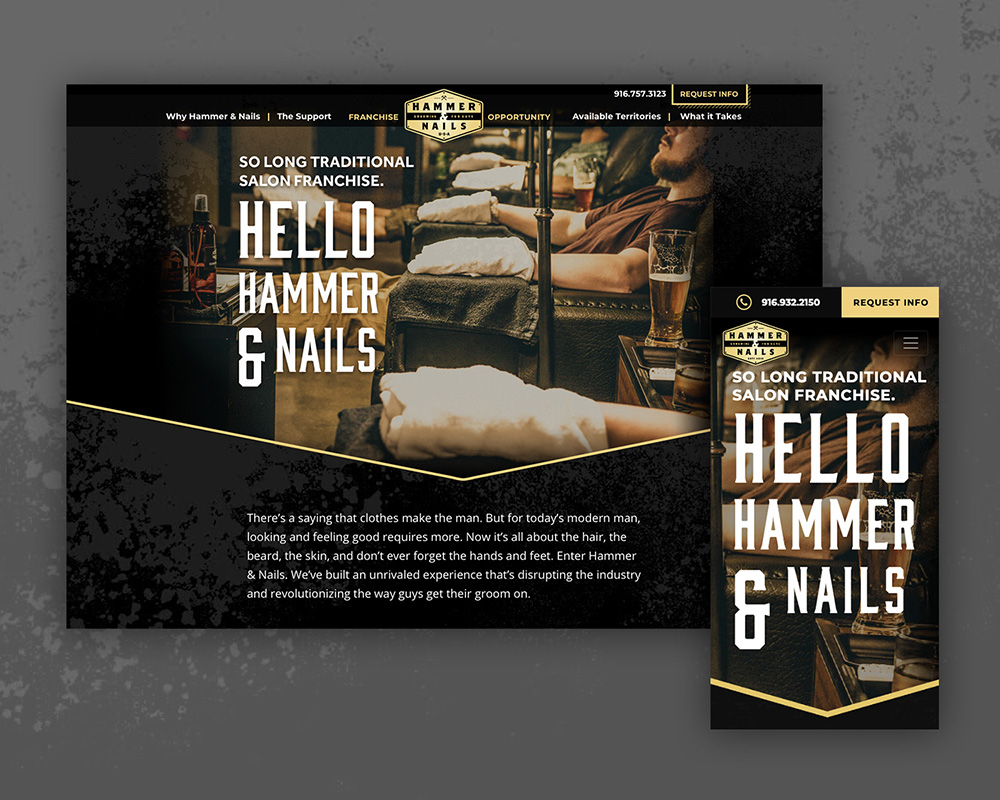 Hammer and Nails website landing page