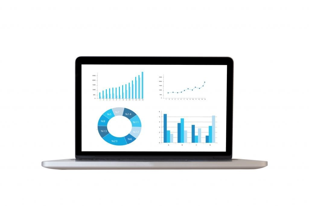 Laptop on white background with data graphs on screen.